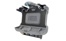 Getac-F110-G6-cradle-angled-view-without-tablet-Gamber-Johnson